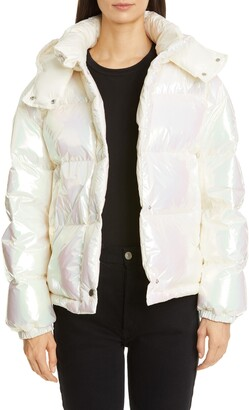Moncler Daos Water Resistant Iridescent Hooded Down Puffer Coat