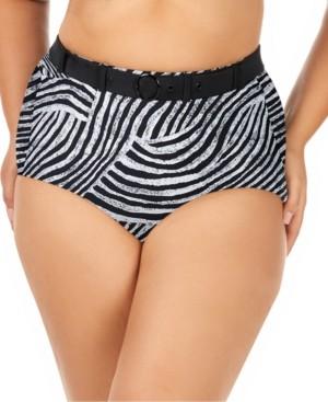 Raisins Curve Trendy Plus Size Juniors' Mombasa Printed Elemental Tummy Control High-Waist Bottoms Women's Swimsuit