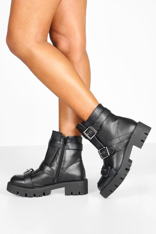boohoo Buckle Trim Cleated Hiker Boots