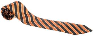 Giorgio Armani Vintage Orange and Black Diagonal Striped Silk Jacquard Tie