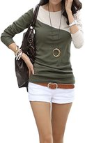 Buckdirect Worldwide Ltd. Casual Slim Color Block Patchwork Long Sleeve Round Neck Women Bottom T-Shirt