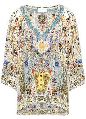 Camilla Indiana Franks Crystal-embellished Printed Silk Crepe De Chine Top