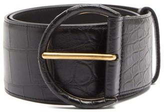 Saint Laurent Crocodile-effect Leather Belt - Black