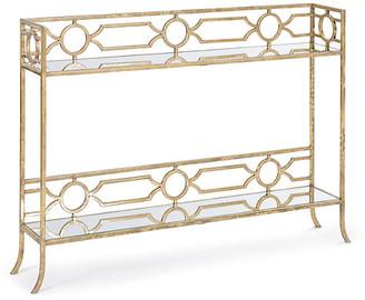 REGINA ANDREW Chantal Mirrored Console Shelf Antiqued Gold/Mirrored