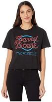 Original Retro Brand The Short Sleeve Slub Raw Edge David Bowie World Tour Tee (Black) Women's Clothing