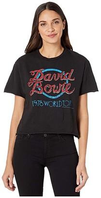 The Original Retro Brand Short Sleeve Slub Raw Edge David Bowie World Tour Tee (Black) Women's Clothing