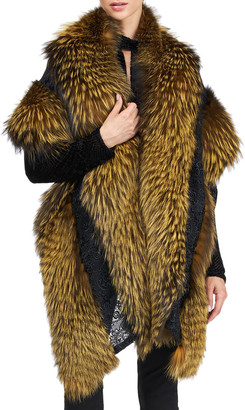 Pajaro Silver Fox Fur Stole With Lace