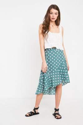 MinkPink Misty Polka Dot Ruffle Midi Skirt - green XS at Urban Outfitters