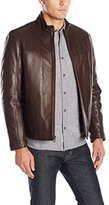 Cole Haan Men's Smooth Lamb Convertible Collar Jacket