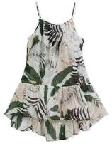 Milly Minis Palm Tree-Print High-Low Coverup Dress, Size 4-7