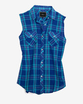 Rails Exclusive Sleeveless Plaid Pattern Shirt: Aqua