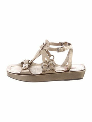 Alaia Leather Studded Accents T-Strap Sandals Gold