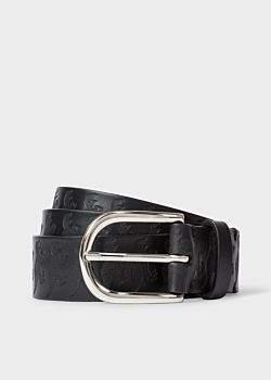 Men's Black Leather Embossed 'Dino' Motif Belt