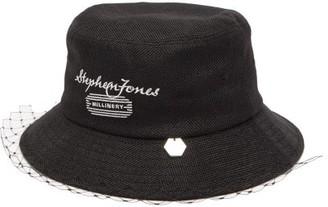 Stephen Jones Net-veil Logo-embroidered Canvas Bucket Hat - Black