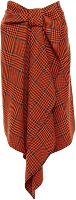 House of Holland Draped Checked Wool-blend Skirt