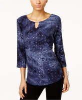 JM Collection Tie-Dyed Embellished Tunic, Only at Macy's