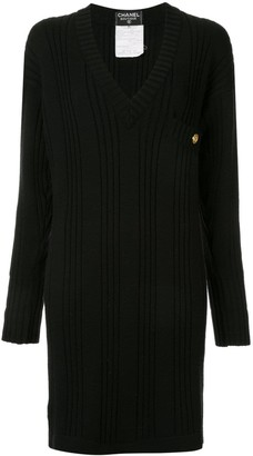Chanel Pre Owned Long Sleeve One Piece Dress