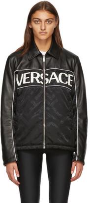 Versace Black Leather Logo Jacket