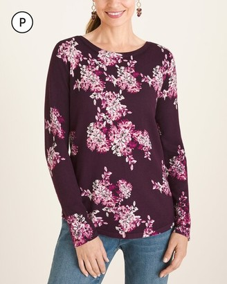 Chico's Petite Floral Bateau-Neck Pullover Sweater