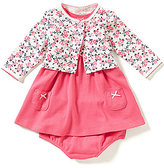 Little Me Baby Girls 3-12 Months Solid Dress and Floral Cardigan Set