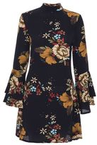 Quiz Navy Floral Print Crepe Frill Sleeve Dress