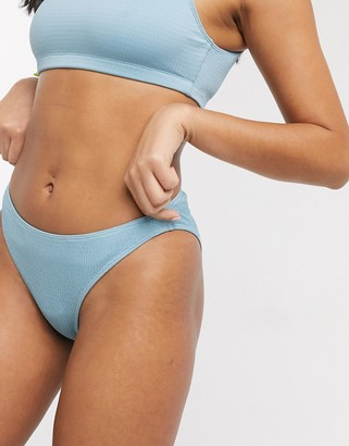 Monki recycled polyester textured bikini brief in dusty blue