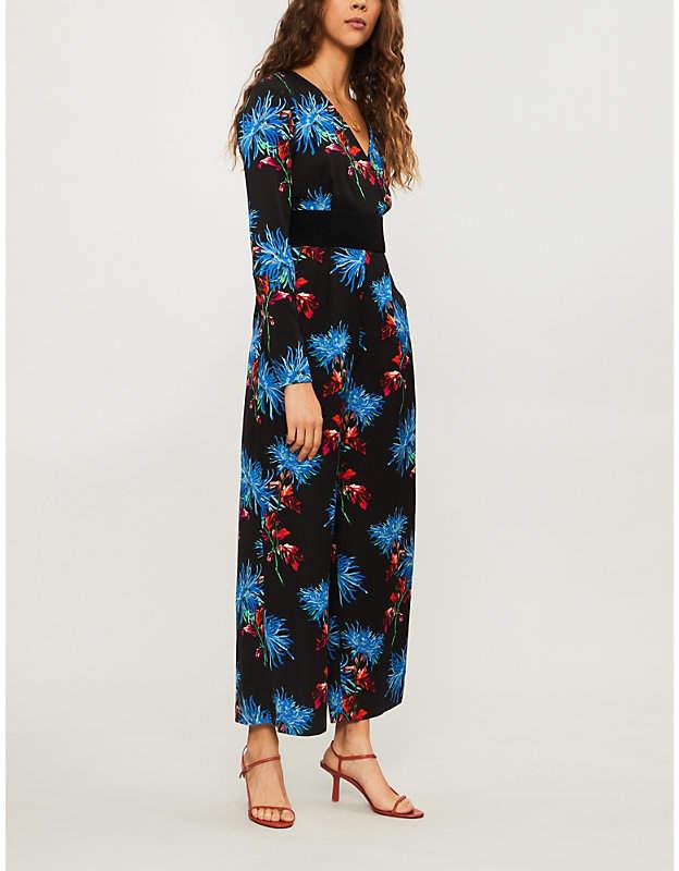 Diane von Furstenberg Floral-print V-neck crepe jumpsuit