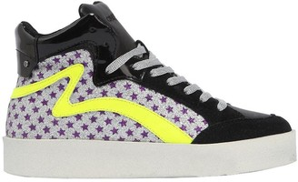 Crime Stars Glitter Leather High Top Sneakers