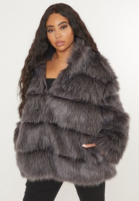 Missguided Plus Size Grey Faux Fur Pelted Coat