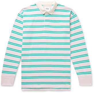 Drakes Twill-Trimmed Striped Cotton-Jersey Polo Shirt