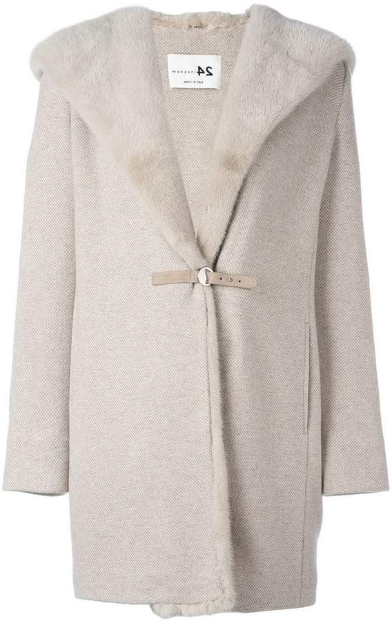 Manzoni 24 mink fur collar hooded coat