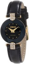 Jowissa Women's J5.007.S Facet Strass Gold PVD Dimensional Glass Black Leather Rhinestone Watch