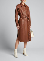 Tibi Faux-Leather Belted Shirtdress