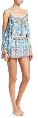 Camilla The Long Way Home Bohemian-Print Silk Cold-Shoulder Playsuit