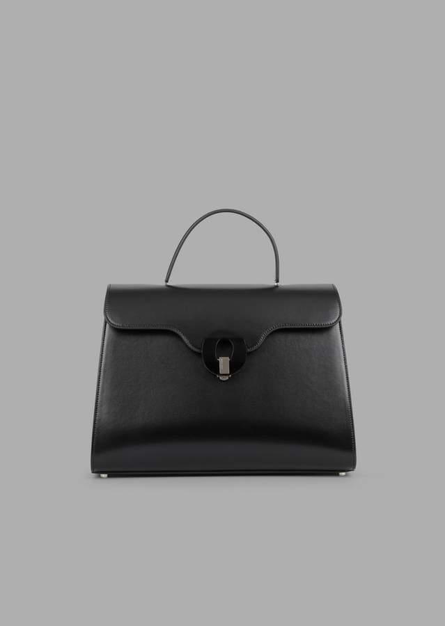 Giorgio Armani Smooth Leather Handbag With Plexiglas Closure