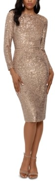 Xscape Evenings Long-Sleeve Sequined Dress