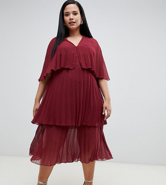 Asos DESIGN Curve soft pleated tiered midi dress