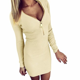 Gofodn Dresses for Women Sweater Pullover Jumper Sexy Solid V Neck Zipper Hip Plus Size Long Sleeve Mini Dress Beige