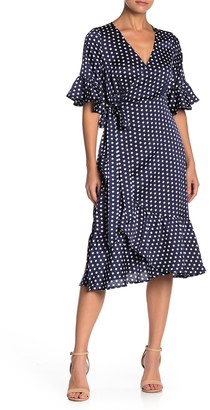 Line & Dot Elsie Ruffle Dot Print Wrap Dress