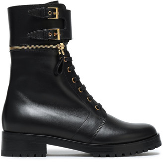 Sergio Rossi Zip-detailed Buckled Leather Ankle Boots