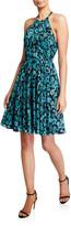 Floral Ruched Open-Back Halter Dress
