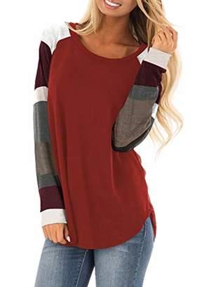 Actloe Women Crew Neck Color Block Long Sleeve Casual Pullover Sweatshirt Loose Tunic Tops Plus Size