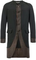 Comme des Garcons checked curved hem coat - men - Wool - L