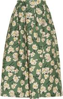 Rochas Magnolia-print cotton midi skirt