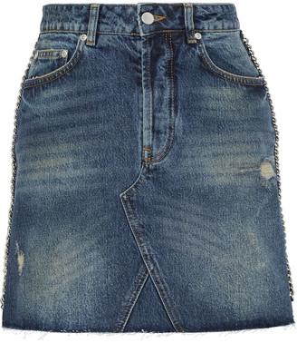 Victoria Victoria Beckham Chain-trimmed Distressed Denim Mini Skirt