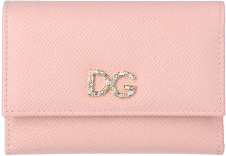 Dolce & Gabbana Light Pink Leather Tri-Fold Wallet