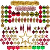 100ct Christmas Tree Decorations Ball Ornaments Assorted Decorations Gold Red and Green, Xmas Decorations Full Set, including Tree Topper, Balls, Bead and tinsel Garlands, Pine Cones by Kingyee Kids