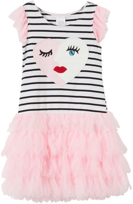 Biscotti Girls' Casual Dresses BLACK - Black & Pink Stripe Heart Face Skirted Dress - Toddler & Girls