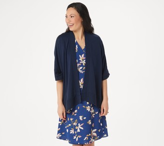 H by Halston Open Front Angled Hem Kimono with Crochet Detail