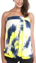 DJT Women's Tie Dye Sleeveless Stretchy Pleated Tube Top